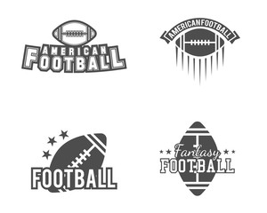 American football team, college badges, logos, labels, insignias set in retro style. Usa sport symbol. Graphic vintage design for t-shirt, web. Monochrome print isolated on a white background. Vector