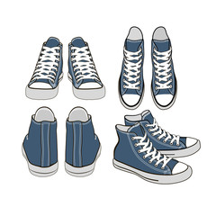 set of isolated cartoon blue sneakers