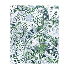 Hand draw abstract floral painted in trendy colors zentangle, Doodle