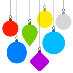 Christmas Background with Flat Balls. Vector