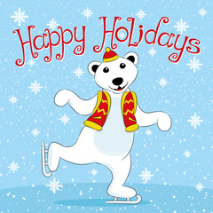 Polar bear skating and wishes Happy Holidays.