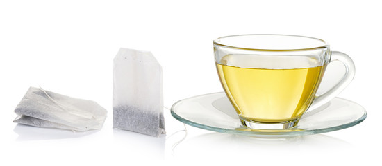 Glass cup of  tea isolated on white background