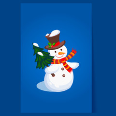 Cheerful Snowman holding a Christmas Tree. Holiday Vector