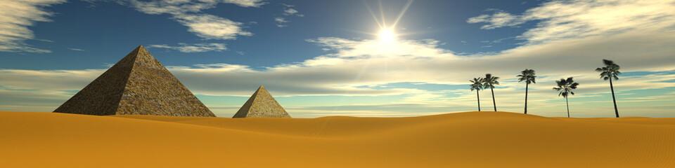 Sunset in the desert. Egyptian pyramids. Panarama desert.