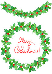 """Christmas wreath (frame) and garland of branches with the red berries and green leaves (holly tree) painted in watercolor on a white background with inscription """"Merry Christmas"""""""