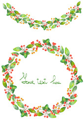 Christmas wreath (frame) and garland of branches with the red berries and green leaves painted in watercolor on a white background, greeting card, decoration postcard or invitation
