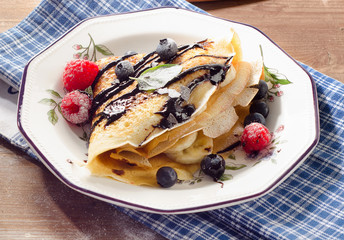 Crepe with Chocolate topping for breakfast