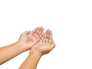 human hands of prayer over white background