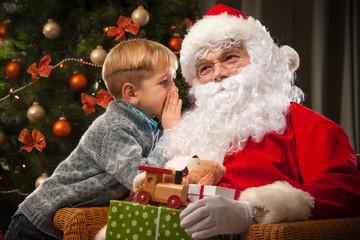 Santa Claus and a little boy Wall mural