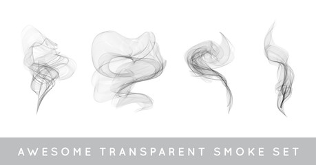 Vector Collection or Set of Realistic Cigarette Smoke or Fog or Haze with Transparency Isolated can be used with any Background