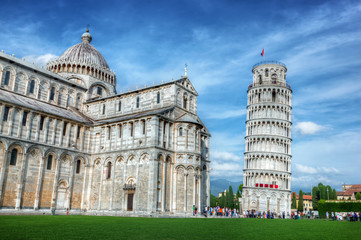 Pisa Cathedral with the Leaning Tower of Pisa, Tuscany, Italy