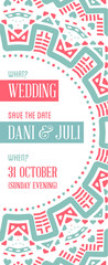 Vector Design Awesome Wedding Invitation Template with Mandala or Doodles Theme. Ideal for Save The Date, Christmas Eve, Mothers Day, Valentines Day, Birthday cards, Invitations or Baby Shower