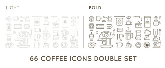 Set of Thin and Bold Vector Coffee Elements and Coffee Accessories Illustration can be used as Logo or Icon in premium quality