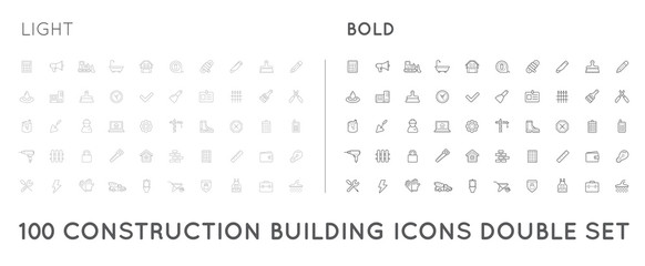 Set of Thin and Bold Vector Construction Building Icons Home and Repair can be used as Logo or Icon in premium quality