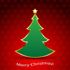 Christmas Tree with a Gold Star. Illustration  Vector Eps10.