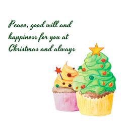 Christmas and New Year watercolor cupcake greeting card