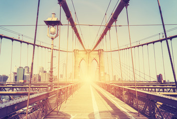 Vintage stylized picture of Brooklyn Bridge, NY.