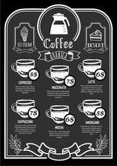 Coffeehouse menu. Coffee Poster on a blackboard.