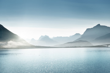 Garden Poster Scandinavia mountains, Lofoten islands, Norway
