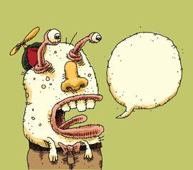 A funny cartoon alien talking with a big, blank speech bubble.