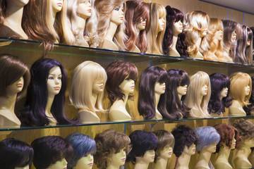 Different color wigs inside fashion store in Turkey
