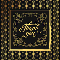 hank You hand drawn lettering with Art Deco black frame.