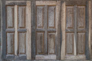 Old vintage windows with wood textures.