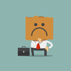 Businessman hide his real face by holding sadness imoticon cardboard mask. Cartoon character. Vector Illustration