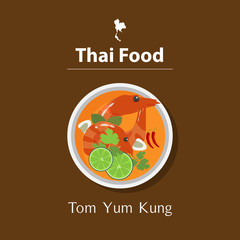 Flat design of Tom Yum Kung. Thai food. Top view. Vector Illustration.