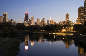 Fotomurales - Chicago skyline from Lincoln Park