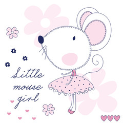 pretty little mouse vector illustration