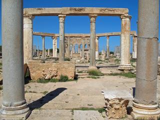 Libye, portiques d'un ancien temple à Leptis Magna