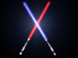 two red and blue 3d light future swords fight and blue glow