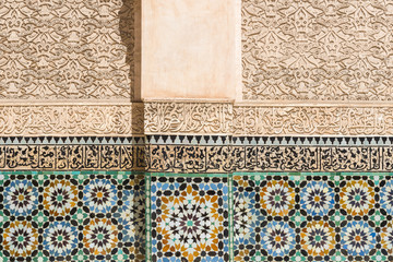 Wall with tiles of the Ben Youssef Medersa, Marrakech (Morocco)