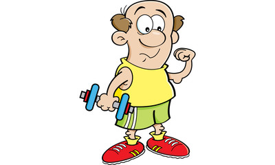 Cartoon illustration of a weak man holding a dumbbell and making a muscle.