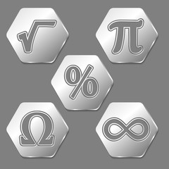 Set of five hexagons with symbols of math