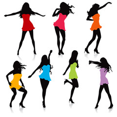 various girls dancing silhouettes