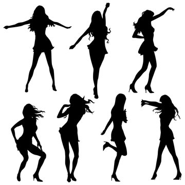 female dancing silhouettes in vector