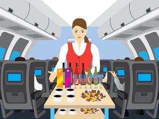 Stewardess in salon of the plane.