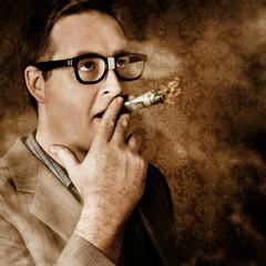 Vintage business man smoking money in success