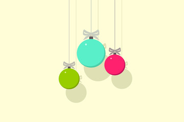 Retro decorative Christmas balls, vector flat illustration.