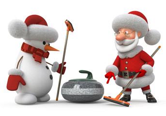 Santa Claus and snowman plays curling