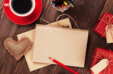 Valentines day heart, coffee, gifts and notepad