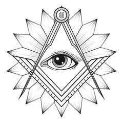 Masonic square and compass symbol, Freemason sacred society embl