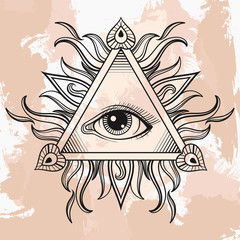 Vector All seeing eye pyramid symbol. Illumination tattoo. Vinta