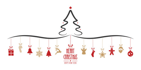 christmas tree hanging decoration elements isolated background