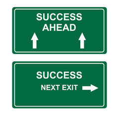 Business success road signs ahead for business concepts