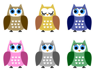 Set of six little owlets