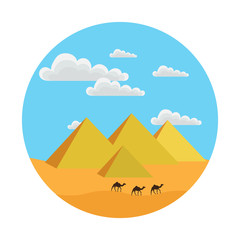 round icon style flat. it shows the Egyptian pyramids, clouds, sand, camels