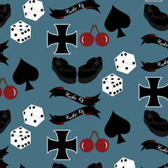 Vector seamless rockabilly style pattern with aces,dice,cross,cherries,banner ribbon and shoes.Stylish retro vintage background